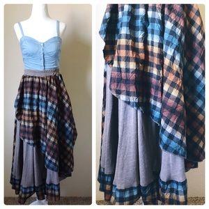 Plaid ruffle brown blue fall skirt asymmetrical